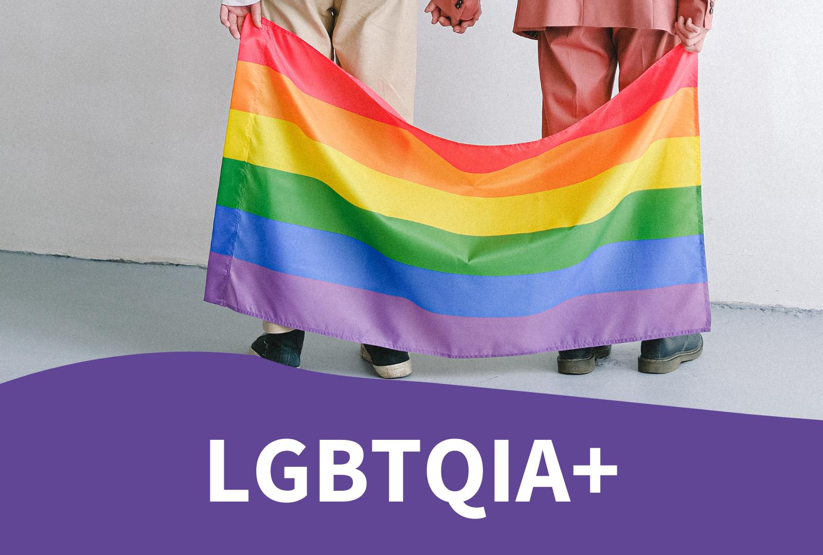 Photo two people behind a pride flag