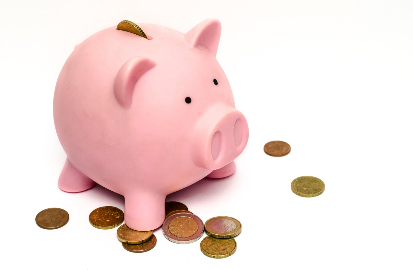 Photo of a piggy bank with coins surrounding
