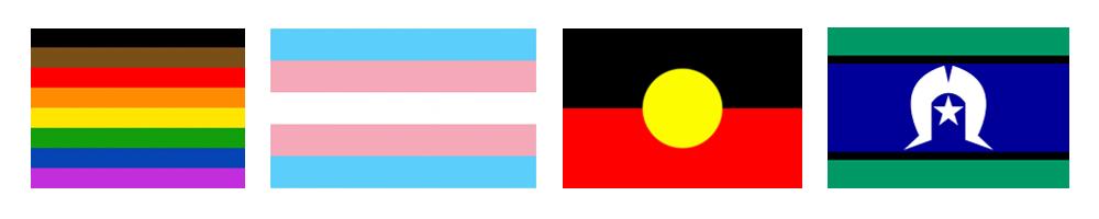 Pride flag, Trans flag, Aboriginal flag and Torres Strait Islander flag icons