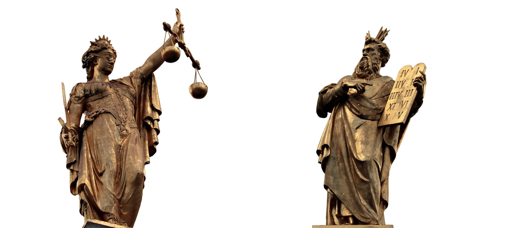 Golden statue of justice and law