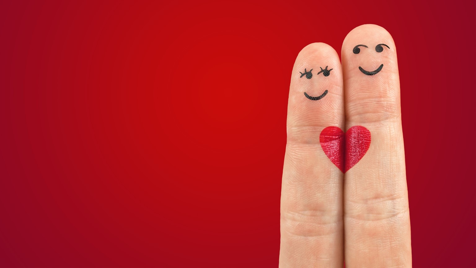 Two finger characters on a red background