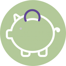 Icon of a dollar sign on a green background
