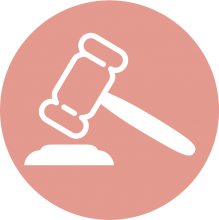 Icon of a gavel on a pink background