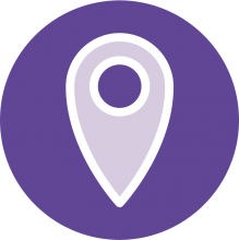 Icon of a geotag on a purple background