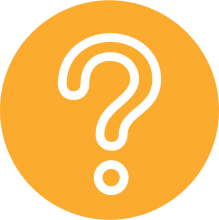 Icon of a question mark on an orange background
